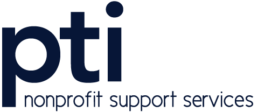 pti nonprofit support servies logo, standard blue version 230 px x 100 px