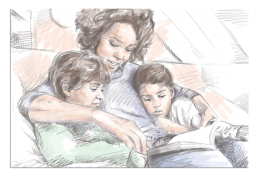 pti women with her two children illustration